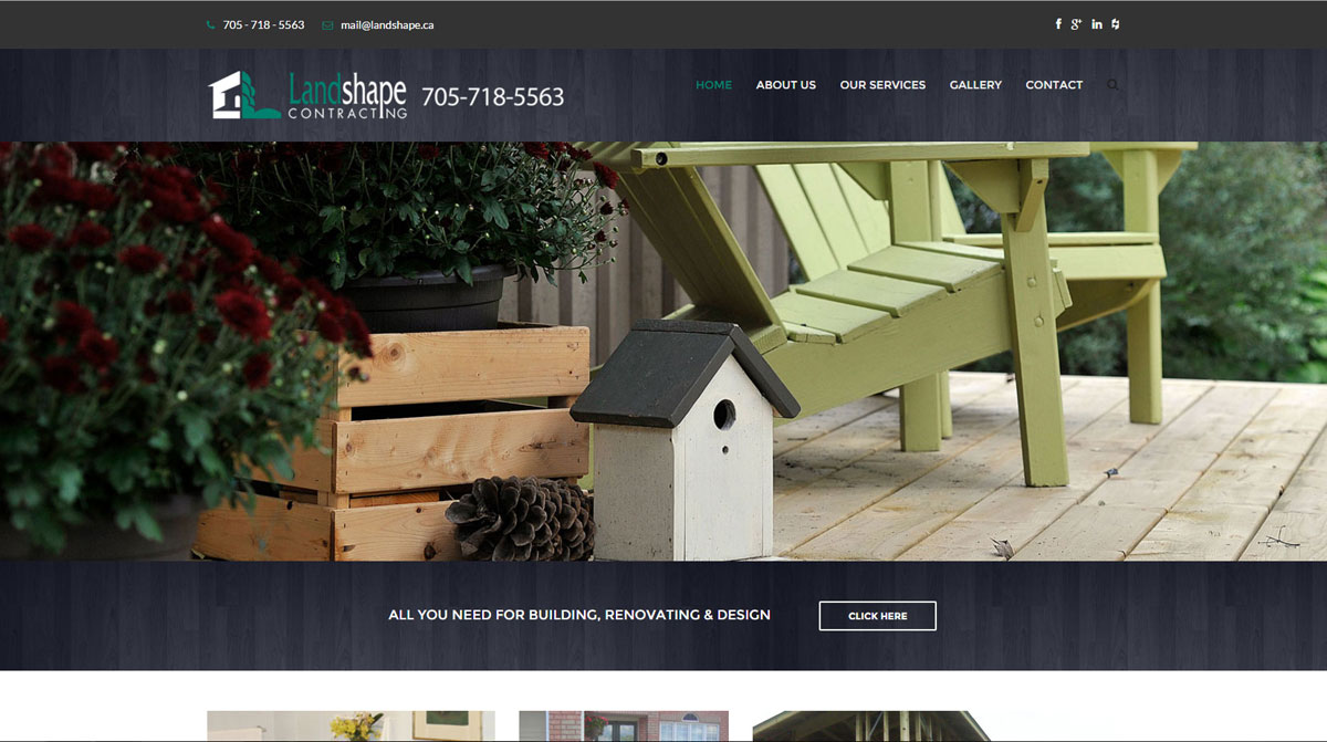Landshape Contracting website developed by Oaltree Design in Barrie